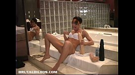 Megane ramming her pussy with multiple big b. dildos