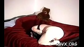 Chubby blonde gets manhandled whilst being bounded solid
