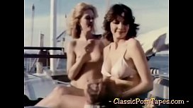 Bitches suck cocks and fuck in vintage porn tape