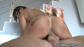 Sexy brunette babe goes crazy riding