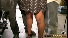 Ebony Cum Slut Hottie Bukkake Party 6