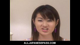 Cute Japanese teen plays...