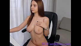 Busty blonde camgirl plays with her pussy in front of the webcam