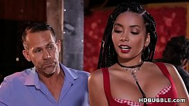Big cocked bartender fucks a hot ebony chick - Aaliyah Hadid and Logan Long