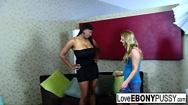 Interracial lesbian action with...