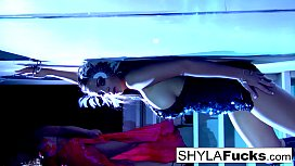 Busty Nikka obeys Shyla'_s commands in this erotic girl on girl sex