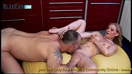 Tiny tits blonde slut Blowing and jumping on big cock