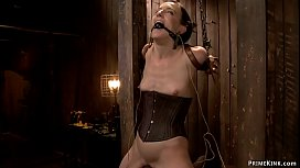 Sub with toes tied to clamped nipples