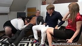 Mature couple fucks two horny young swingers hard as fuck