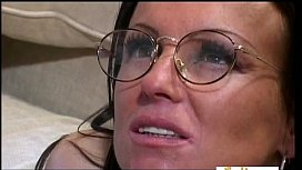 Brunette receives a ton of jizz on her nerdy glasses