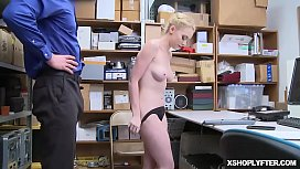 Blonde Shoplyfter bounces her tight twat on top of the Lp officer!