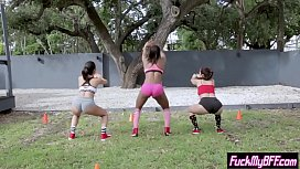 Sexy tighty teens got banged after a outdoor training