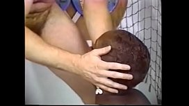 Black fatty licks her big boobs while a guy fucking her