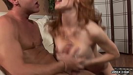 Doggystyle and a facial all over her huge boobs