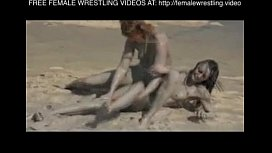 Girls wrestling in the...