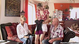Mature couple threesome with...