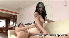 Emo whore gets a huge cock in her cunt