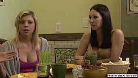 Blonde milf licked by a lesbian teen