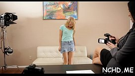 Glamorous legal age teenager girl is simply great at this hot casting show