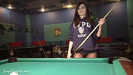 Jeny Smith playing pool...