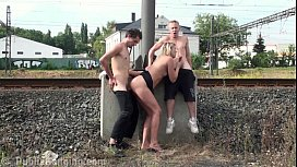 A teen guy fucking his friend mother in PUBLIC by a railway