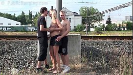 A teen guy fucking his friend mother in PUBLIC by a railway image