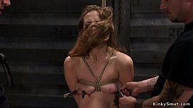 Brunette gagged and banged by huge dick