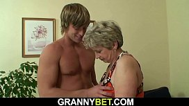 Hot-looking guy bangs old grandma on the couch