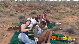 Outdoor African orgy with...