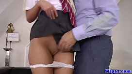 Gorgeous schoolgirl pleasing old...