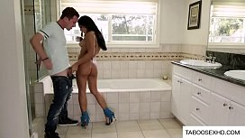 Perverted guy jerking off in front of a girl