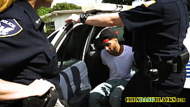 Criminal gets caught with stolen cell phone by perverted milf cops