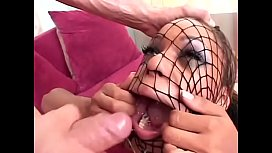 Playful ebony floozie in red latex lingerie Marie Luv likes to pull on fishnet stocking on her head during facial cumshot after deep anal penetration