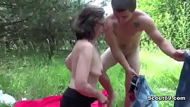 Young Boy Fuck Outdoor Ugly Granny with Hairy Pussy Anal