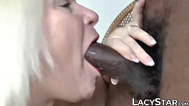 Naughty granny loves interracial sex and warm cum