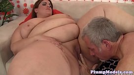 Huge beauty doggystyled after pussylicking