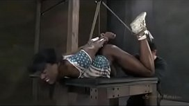 Bound Black girl fucked by white dom dick