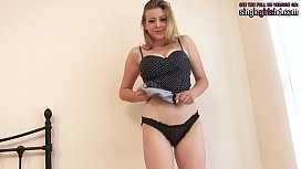 singlegirlshd.com - Delicious blonde with natural great tits and big ass stripping and masturbating
