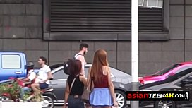 Petite Asian teen is horny and in love with this backpacker'_s big cock.