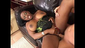 Busty black chick anal...