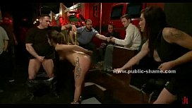 Babe tied in club with cuffs is a.