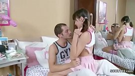 Petite Sister get tight asshole fuck by big Cock Step-Bro