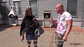 Takevan Free-hug teen show her monster natural tits to stranger who fuck her