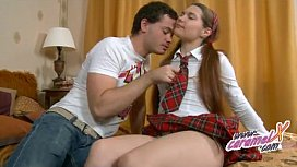 Shaved teen licked until...