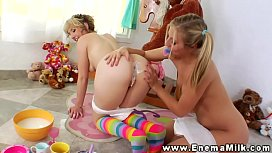 Enema babes squirt milk...