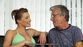DADDY4K. Beautiful lady has hot sex with old man on his giant villa