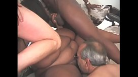 Black slut has enough meat to go round in this heavy gang bang