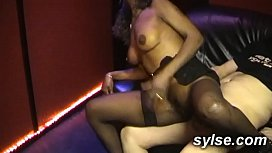 Gangbang in sexshop with...