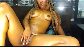 Hot ebony masturbate on...