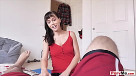 Brunette stepmother surprise bowl and blowjob